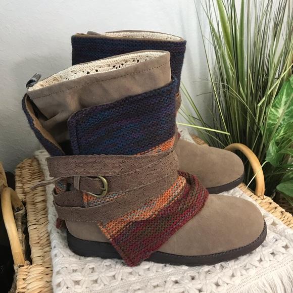 MUK LUKS Nikki Boho Striped Knit & Crochet Boots